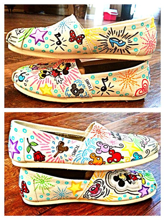 Disney pattern custom TOMS by Simply4TheHeArt on Etsy, $140.00 I could probably do theses with plain white tons and a bunch of sharpies.
