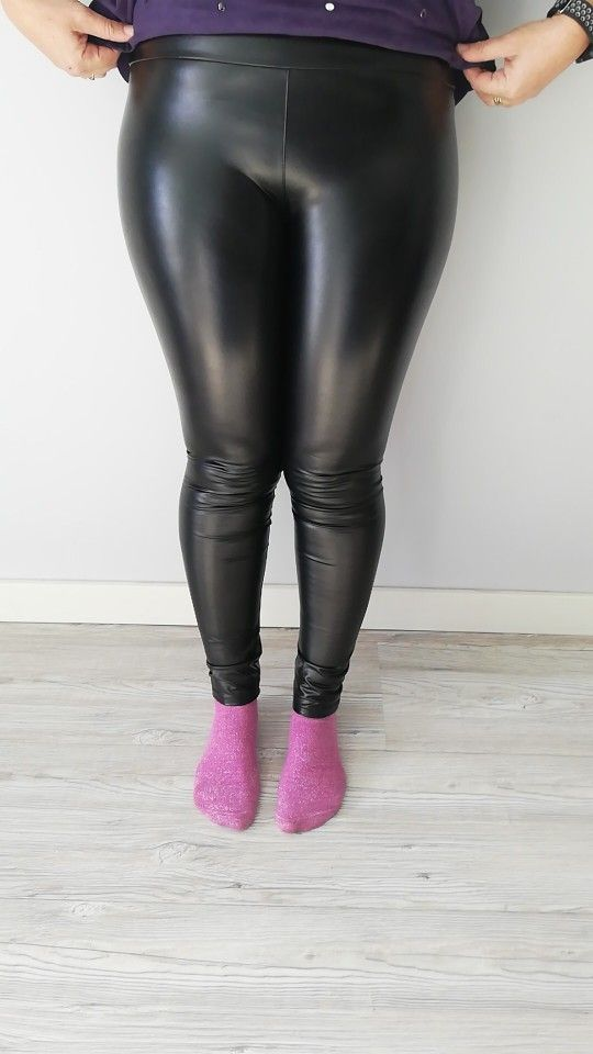 Ladies High Waist Black Faux Leather Leggings Wet Look Shiny Stretchy Pant Hi/_ws