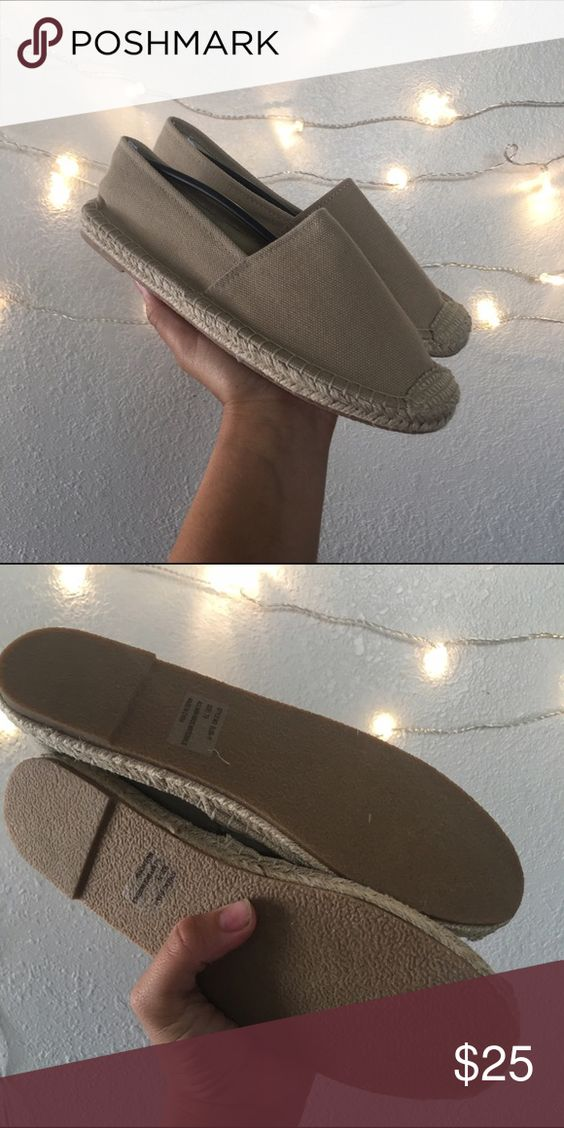TAUPE SZ 6.5 BEIGE ESPADRILLES BRAND NEW Marked 7.5 but fit 6.5 Breckelles Shoes