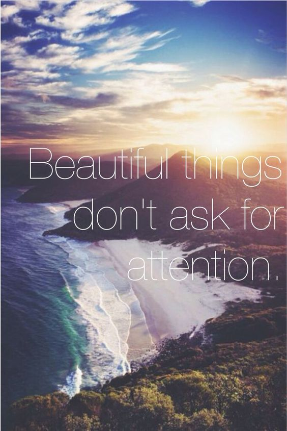 Beautiful things don't ask for attention.: