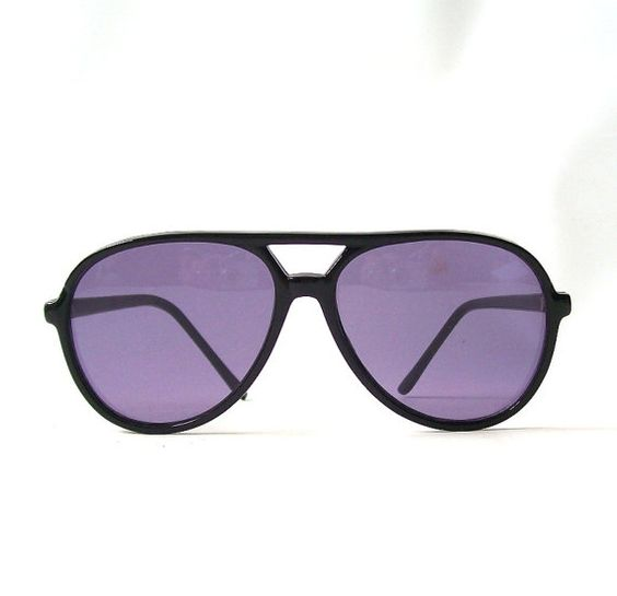 vintage 1980's aviator sunglasses black frames purple lenses by RecycleBuyVintage, $25.00