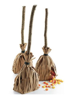 Witches Brooms with Paper bags filled with candy- I'm making these for our Halloween Party!!! a BIG THANK YOU to Martha Stewart!
