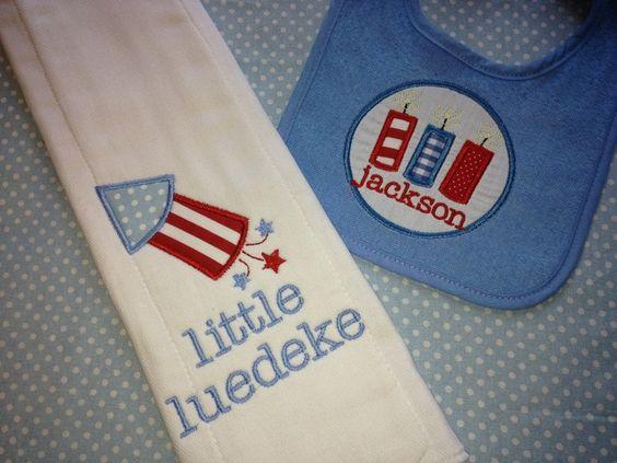 Monogrammed Fourth of July bib and burp cloth set!