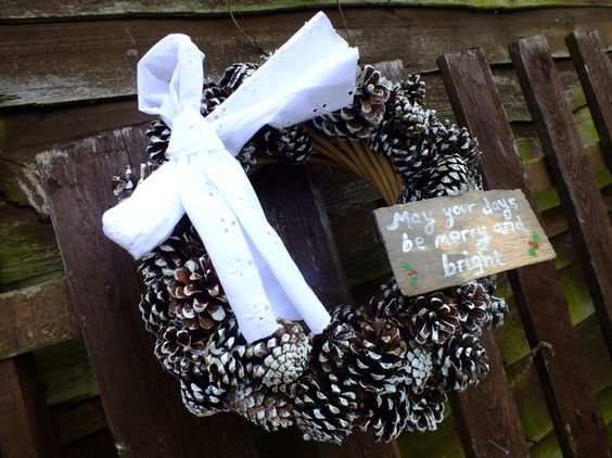 Snowy pine cone wreath £15.00