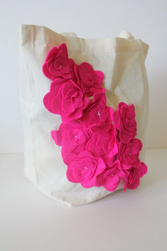 canvas tote bag / shoulder bag purse -- cascading hydrangeas in hot pink. $35.00, via Etsy.