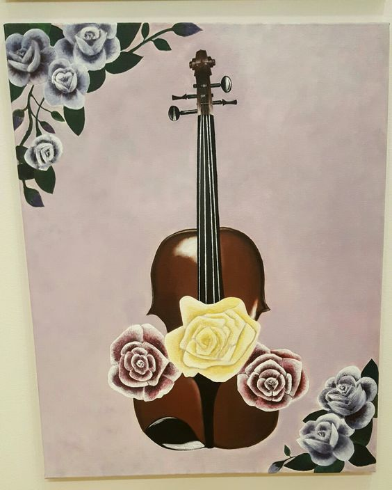 Violin & Florals || Acrylic Painting