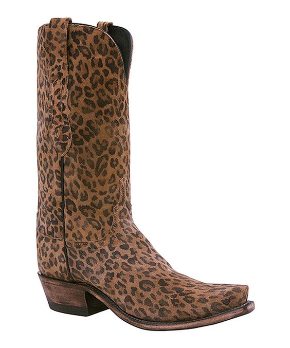 Look at this Lucchese Gold Brown Leopard Leather Western Boot - Women on #zulily today!