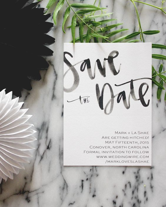 Watercolor Cursive Simple Black and White Wedding Stationery - Save the Date Card. Save the dates    Aisle Perfect