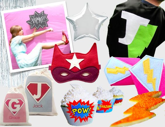 Superhero party via Lauren @ with two cats for Spearmint Baby #party #parties #superhero #superheroes #photobooth #costume #favors