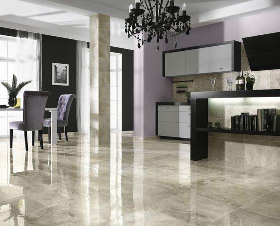 Glossy Marble Ceramic Tile Floor Ideas For Modern Living Room - finke küchen angebote