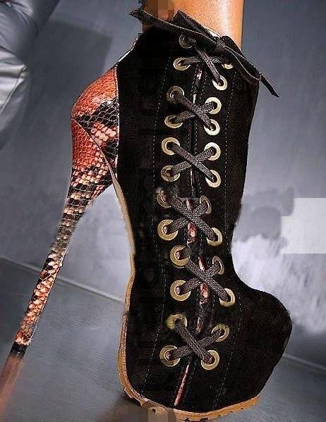 Womes Snakeskin Heel Lace High Heel Boots