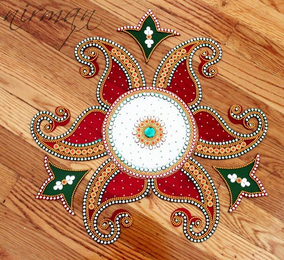 Rangoli kundan bollywood inspired acrylic floor art for Floor rangoli design