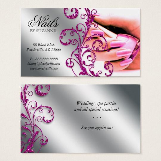 Nail Salon Business Card Glitter Pink Silver 2 Zazzle Com In 2021 Nail Salon Business Cards Salon Business Cards Nail Salon Design