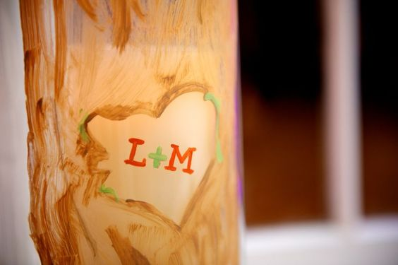 hand painted and etched wishing tree vase