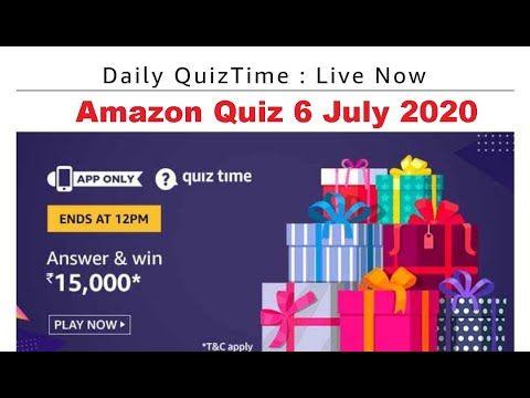 Amazon Quiz 6 July 2020 Win Rs 15000 Pay Balance Quiz Fun Quiz Time Quiz