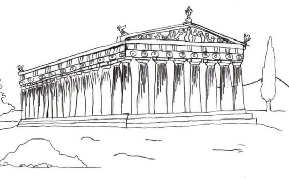 Simple Greece Art Coloring Page