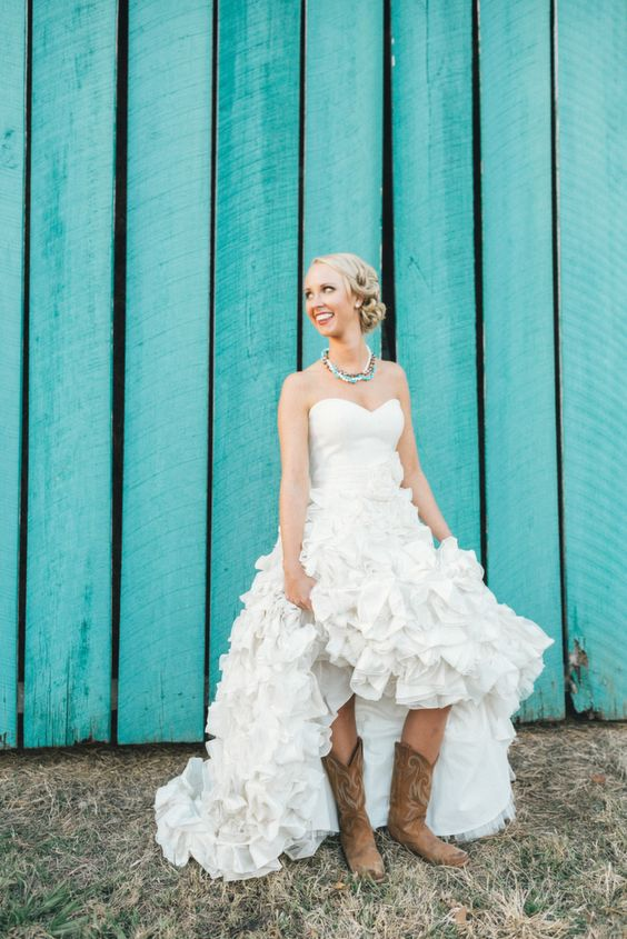 Country ruffled wedding dress with cowgirl boots how cute for Southern country wedding dresses