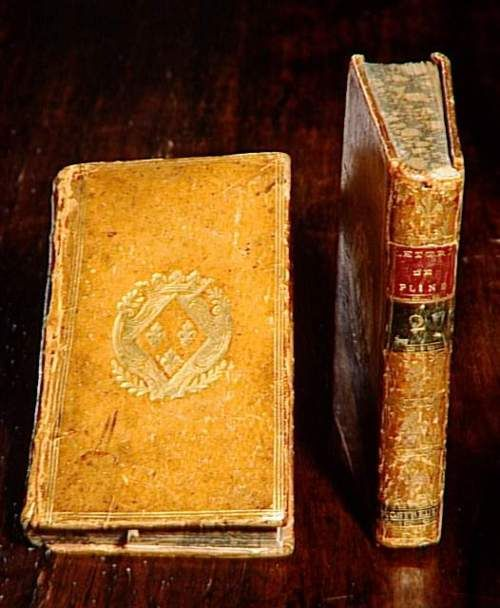 "Two volumes of ""Letters of Pliny the Younger,"" bound with the arms of Madame Elisabeth of France"