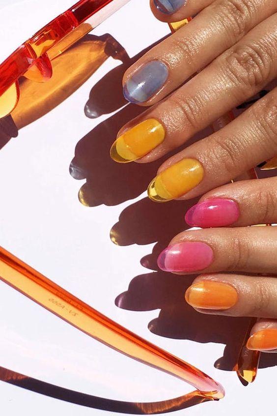 Jelly Nails Are Trending.  #purewow #beauty #nails #nailpolish #nailart #summer #trends #nailart #nailideas #nailtrends #beautytrends #summerbeauty #summernails #jellynails