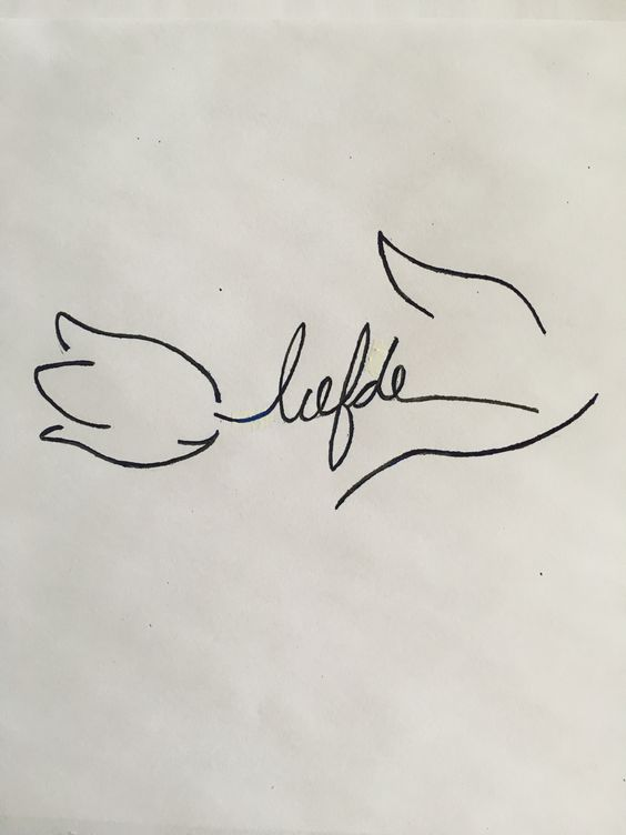 Tulip tattoo with love in Dutch                                                                                                                                                     More