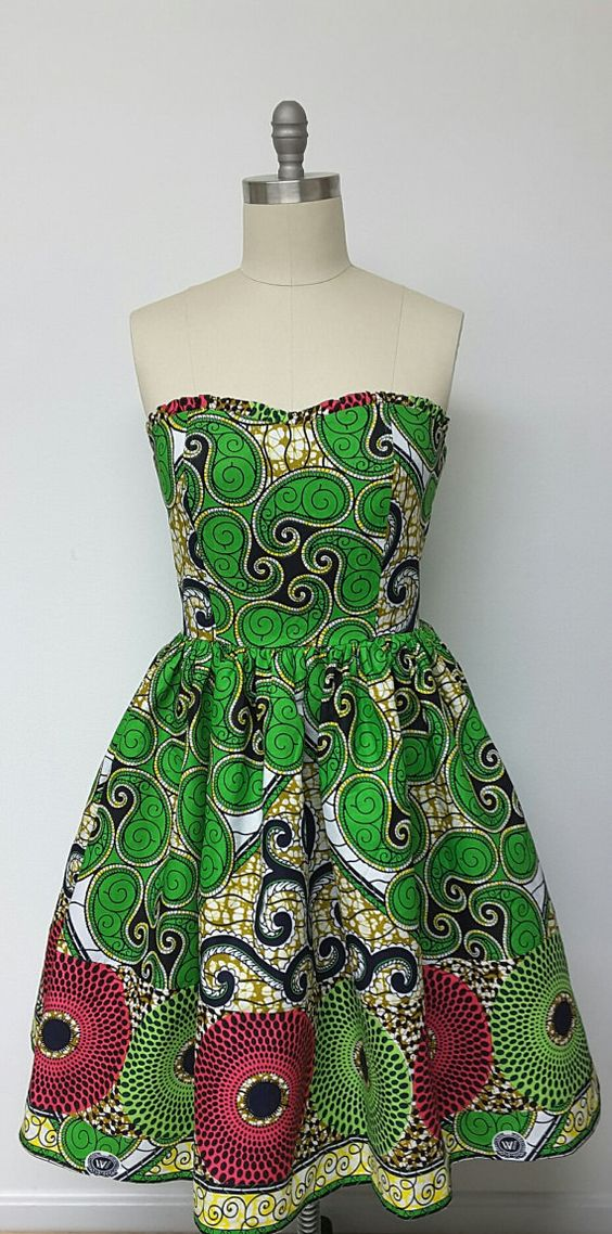 African Print Fitted Bustier Dress. Strapless. Petticoat. Multi Prints. Inside…: