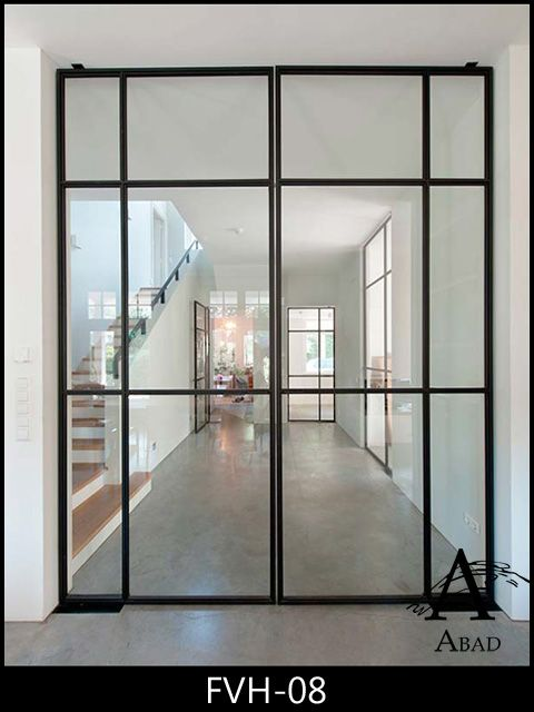 Puerta Doble Con Laterales Fijos Puertas De Cristal Diseños De Puertas De Cristal Ventanas Interiores