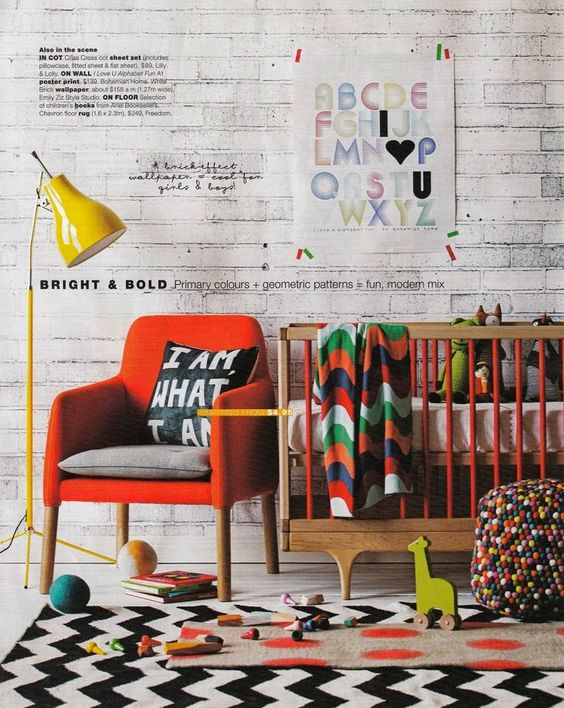 Black & white with colour. the boo and the boy: eclectic kids' rooms: