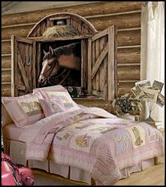 no to the pink bed, yes to the horse greeting every morning!