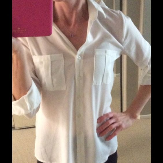 MINE Small Lightweight Blouse 100% Polyester MINE Ivory/White Lightweight Blouse. Worn twice, no stains or snags, non smoking household. MINE Tops Button Down Shirts