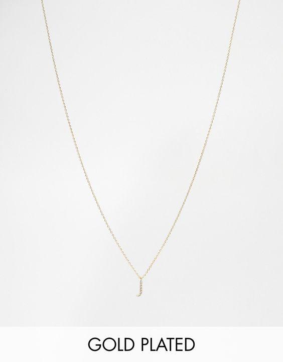 """Kette von Astrid & Miyu goldene Beschichtung feine Gliederkette Kristallbesetzter """"J""""-Anhänger Karabinerverschluss 70% Rhodium, 20% Zirkonia, 10% Gold"""