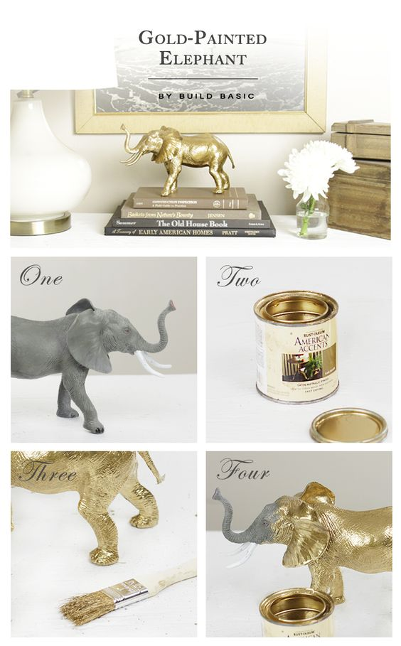 Gold-Painted Elephant - Craft by @BuildBasic www.build-basic.com: