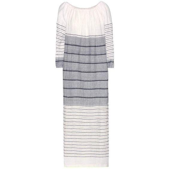 Lemlem Almaz Off The Shoulder Cotton Maxi Dress ($294) ❤ liked on Polyvore featuring dresses, navy dress, navy blue cotton dress, off the shoulder navy dress, navy cotton dress and navy blue dress