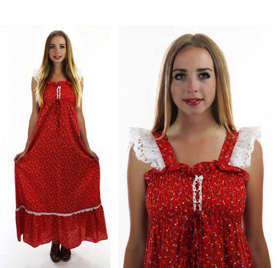 70s Calico Prairie Dress Vintage 60s Hippie by neonthreadsdesigns, $37.00