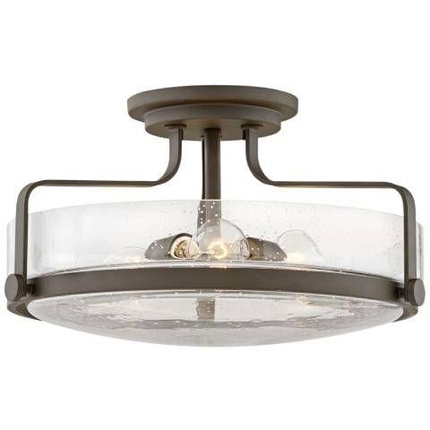 Harper 18 Wide Seeded Glass Ceiling Light By Hinkley 62x27 Lamps Plus Ceiling Lights Glass Ceiling Lights Semi Flush Ceiling Lights Seeded glass flush mount light