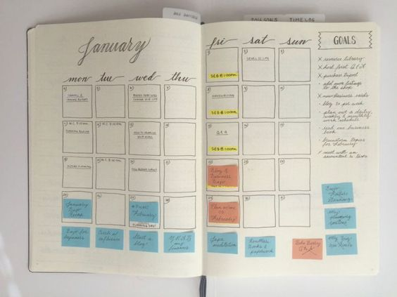 """Calendario editoriale - Blog & Business  Once a post is published, I move the post-it off the calendar and write it in all """"official-like"""" in pen."""