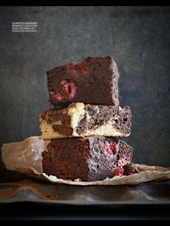 Raspberry Guinness brownie, cappuccino slice, GF brownie Jamie magazine mar/apr 2012