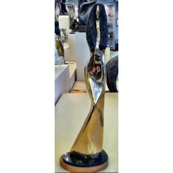 Alfred Tibor Sculpture, Girl with Black Hair, Gold Plated. Available at Argo & Lehne Jewelers.