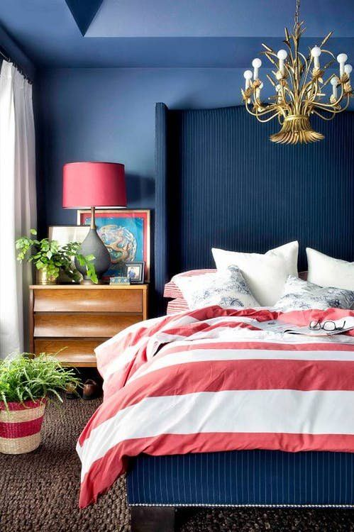 Is Red And Blue The New Design Power Couple Dark Blue Bedrooms