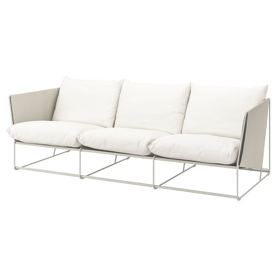 Havsten 3er Sofa Drinnen Draussen Beige Ikea Deutschland In 2020 Sofa Outdoor Seat Pads Ikea