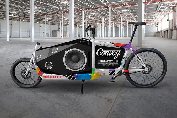 Mock ups for a mobile sound system on a bullitt cargo bike