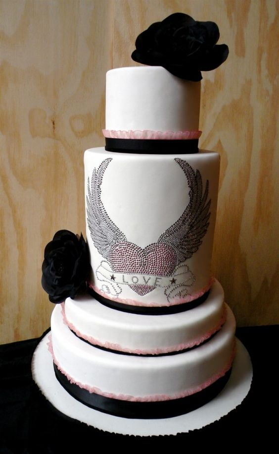 rockstar #wedding #cake #pink #black