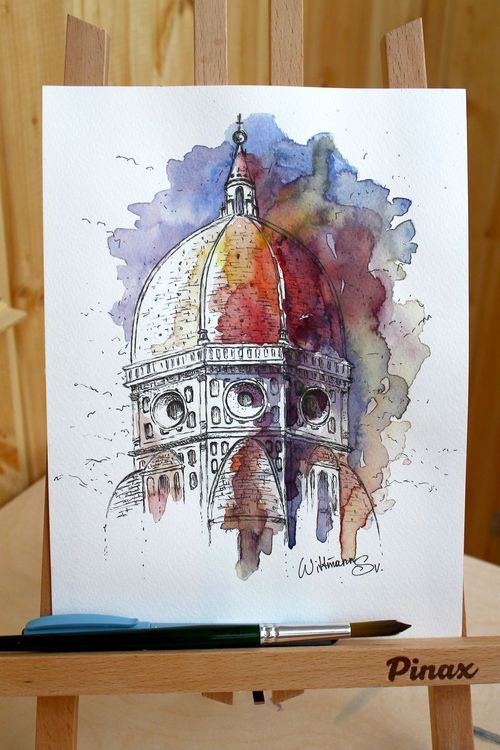 Original Watercolor Painting 18x24 Cm The Cathedral Of Florence