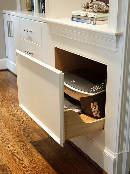 Hidden Printer Ideas Pictures Remodel And Decor Printer Storage Home Office Design Office Storage