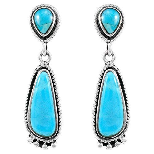 Turquoise Earrings Sterling Silver 925 Genuine Turquoise Jewelry Select Style Dr Genuine Turquoise Jewelry Silver Turquoise Jewelry Black Hills Gold Jewelry