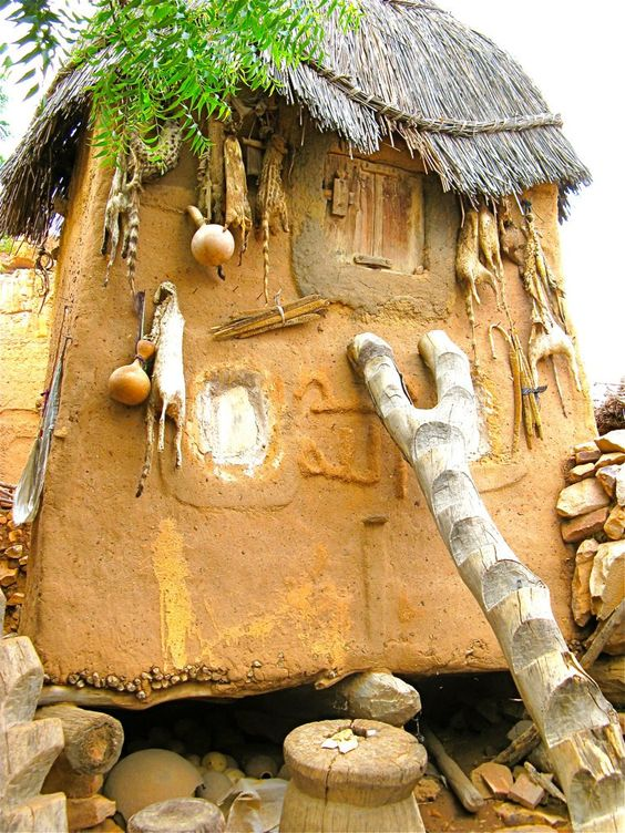 This Dogon grain hut in Mali is owned by a tribal hunter as indicated by the items hanging from the outside. The pointed roof indicates that it is male owned. A female owned grain hut has a flat roof. A traditionally carved ladder leans against the hut.: