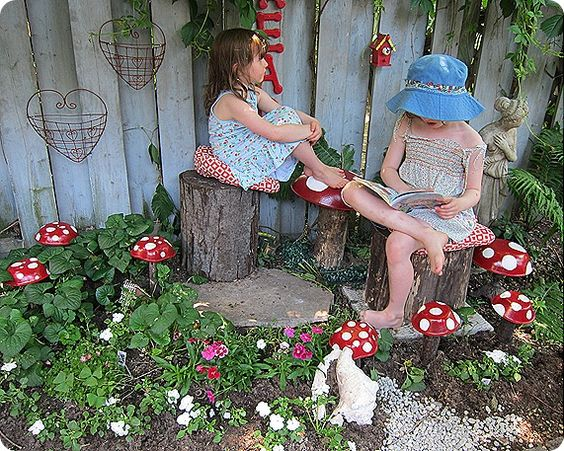 wood bowls from thrift painted and turned into toadstools. Natural, fun garden ideas for the little people.