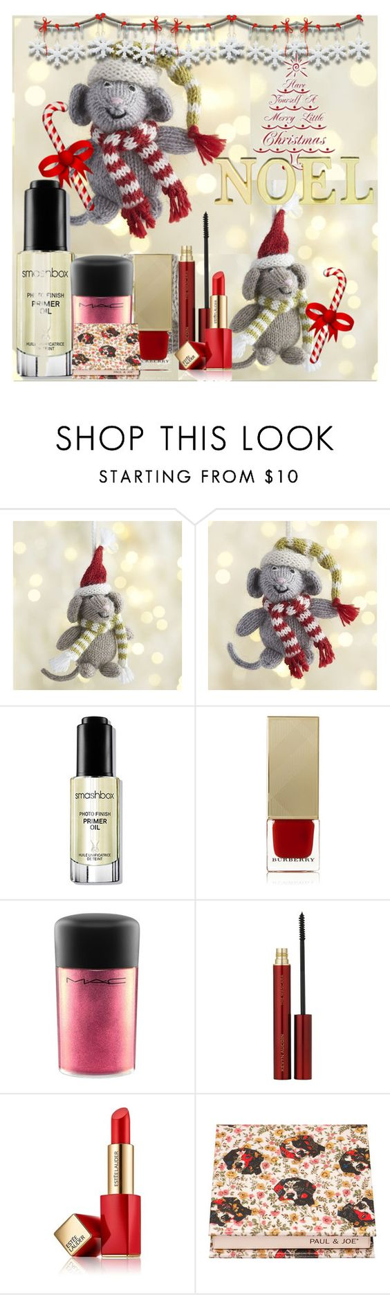 """Cute Christmas Beauty"" by frenchfriesblackmg ❤ liked on Polyvore featuring beauty, Crate and Barrel, Smashbox, Burberry, MAC Cosmetics, Laura Ashley, Kevyn Aucoin, Estée Lauder and Paul & Joe Beaute"