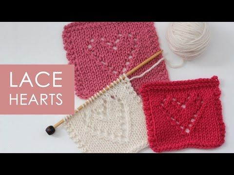 How to Knit Lace Hearts Knit Stitch Pattern with | Stiche, Strick ...