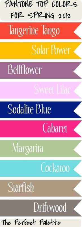 Spring 2012 color palette #pantone