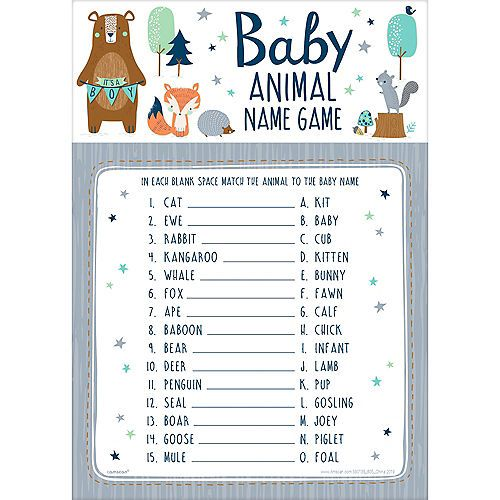 Can Bearly Wait Baby Animal Name Game 24ct Baby Animal Name Game Baby Animal Names Baby Shower Woodland Theme